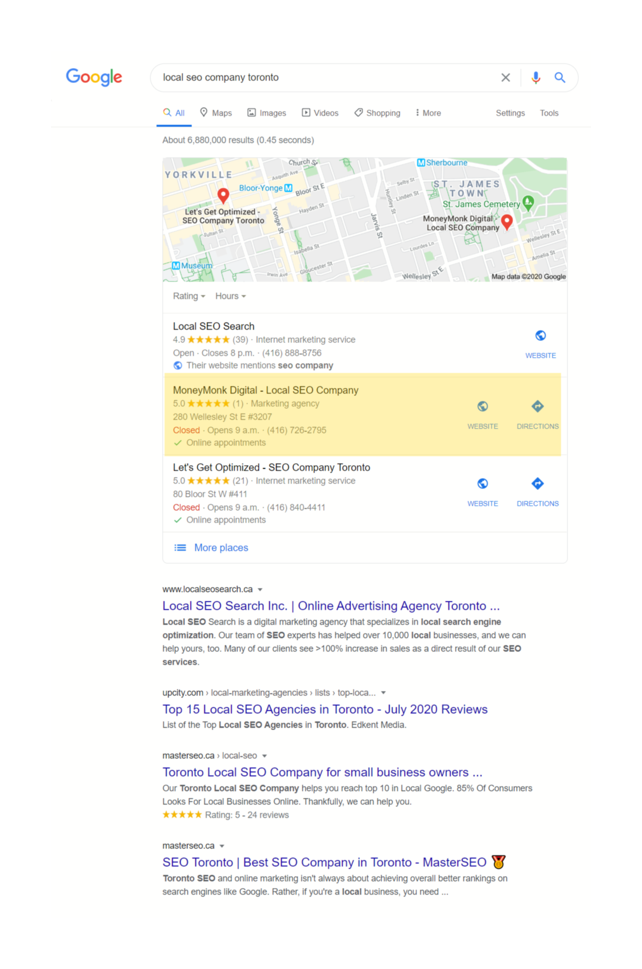 local seo company toronto keyword ranking 2