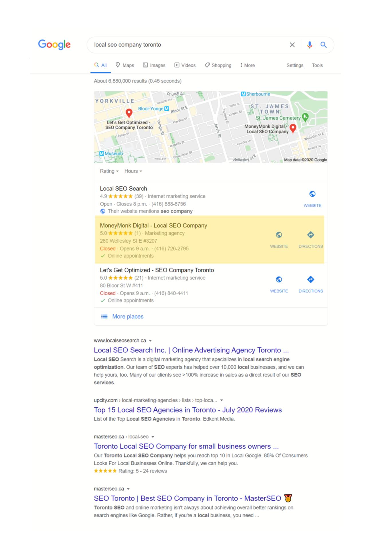 local seo company toronto keyword ranking 2